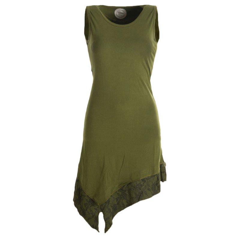 Asymmetrische Elfentunika aus Baumwolle - zweifarbig Olivegrün 38/40