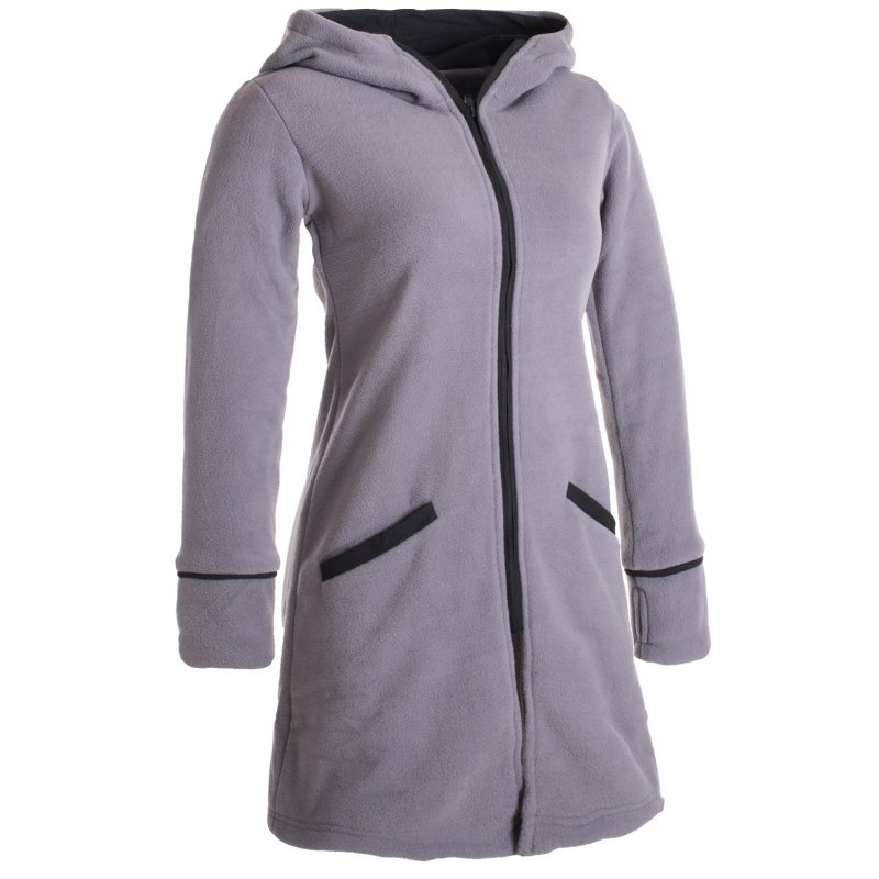warmer wintermantel aus eco fleece mit zipfelkapuze grau 46 vishes. Black Bedroom Furniture Sets. Home Design Ideas