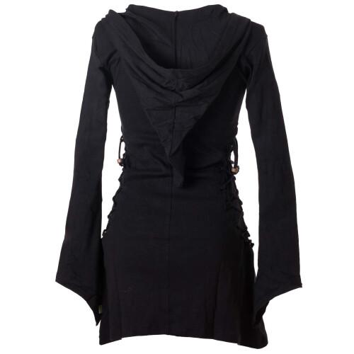 Vishes Elfenkleid mit Zipfelkapuze und Bändern zum Schnüren schwarz 40