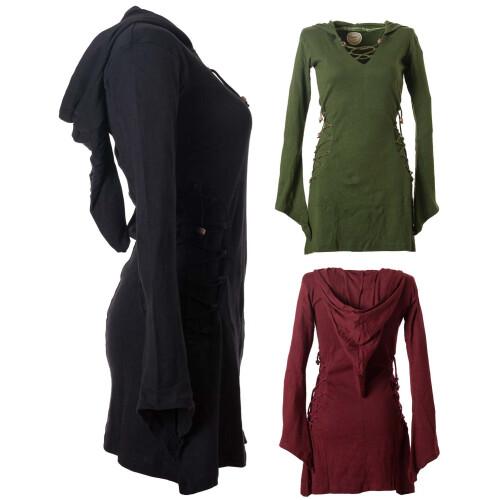 Vishes Elfenkleid mit Zipfelkapuze und Bändern zum Schnüren schwarz 36-38