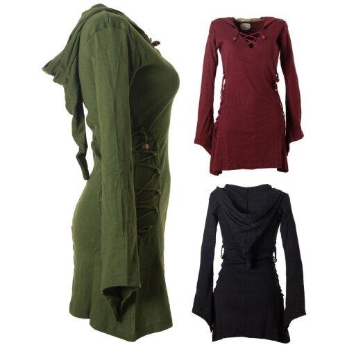 Vishes Elfenkleid mit Zipfelkapuze und Bändern zum Schnüren olive 36-38