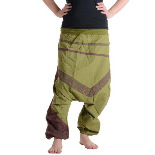 Vishes Haremshose Patchworkhose mit Druck und Stickereien