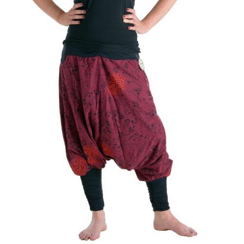 Vishes Bestickte Baumwoll Blumen Haremshose mit tiefem Schritt und Taschen