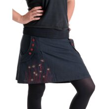 Vishes bestickter Mini Rock Hippie Boho schwarz 44