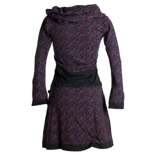 Vishes Bedrucktes Kleid aus Baumwolle mit Schalkragen