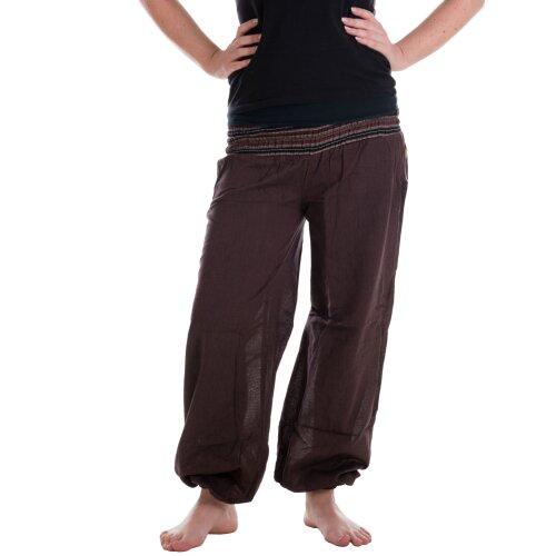 Vishes Sommer Chino Haremshose aus Baumwolle mit super elastischem Bund - handgewebt dunkelbraun