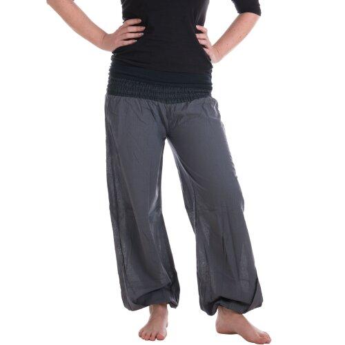 Vishes Sommer Chino Haremshose aus Baumwolle mit super elastischem Bund - handgewebt grau