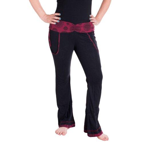 Vishes Damen Hippie Hose aus Baumwolle Bootcut mit leichtem Schlag