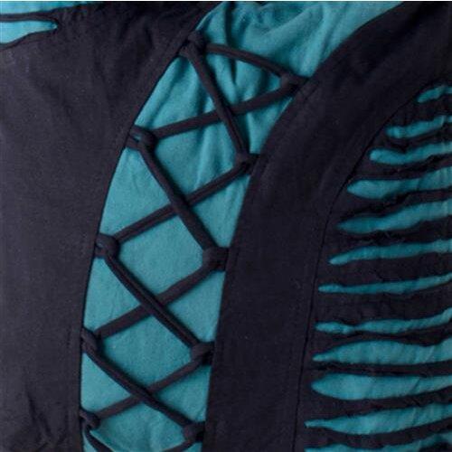 Vishes alternative Bekleidung - Yogitasche aus Baumwolle mit Cutwork und Schnüren schwarz-türkis