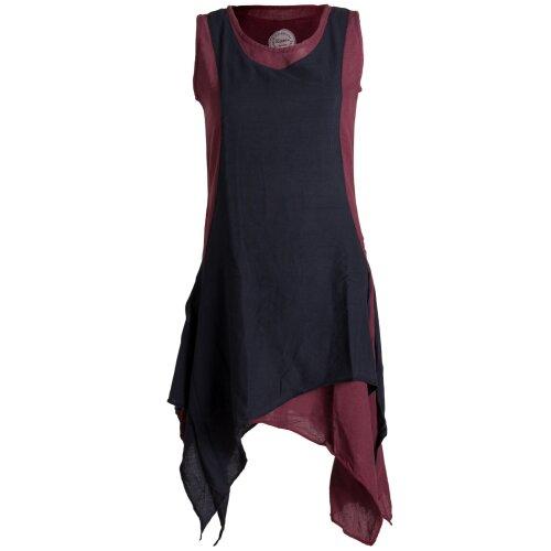 Vishes Ärmelloses Zipfeliges Lagenlook Kleid / Tunika aus handgewebter Baumwolle