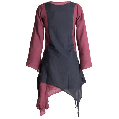 Vishes Langärmliges Zipfeliges Lagenlook Kleid / Tunika aus handgewebter Baumwolle