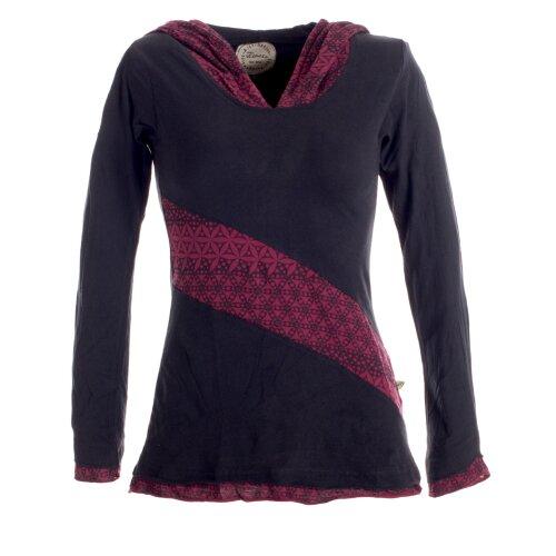Vishes Sweater im Lagenlook mit Zipfelkapuze schwarz 36