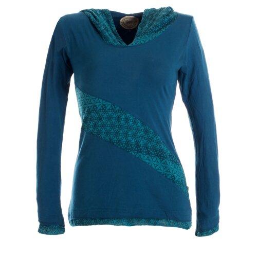 Vishes Sweater im Lagenlook mit Zipfelkapuze türkis 40