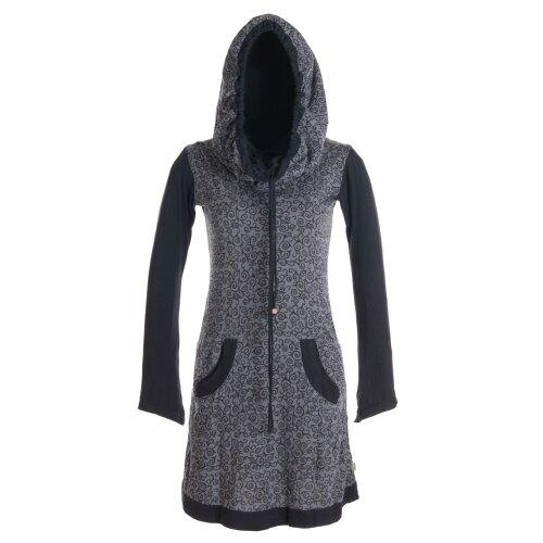 Vishes Bedrucktes Baumwollkleid mit Kapuzenschalkragen und Taschen
