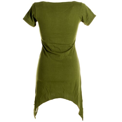 Vishes Asymmetrisch geschnittenes Longshirt, Elfen Tunika mit großen Blumen bedruckt