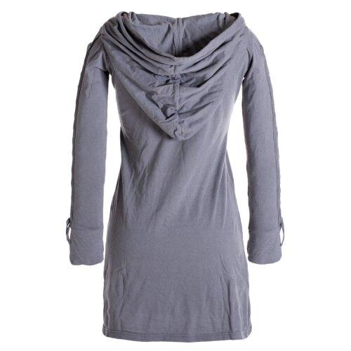 Vishes Einfarbiges Langarm Baumwoll Hoodie-Kleid mit geschnürten Ärmeln