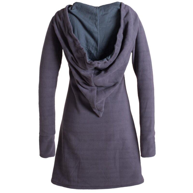 Lagenlook Zipfelkleid aus Eco Fleece mit Langen /Ärmeln und gro/ßem Kapuzenschalkragen Alternative Bekleidung Vishes