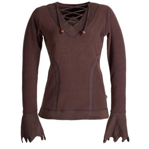 Vishes Zipfelshirt aus warmem, weichem ECO Fleece mit Schnürung am V-Ausschnitt