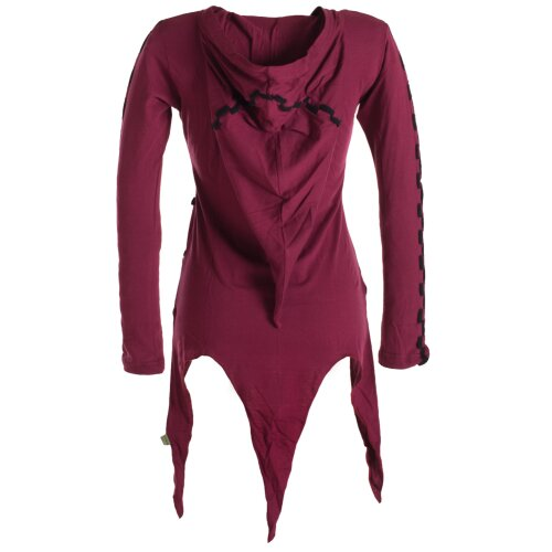 Vishes Asymmetrisches Langarm Zipfelkleid aus Biobaumwolle mit langer Zipfelkapuze