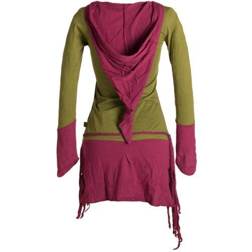 Vishes Zweifarbiges, asymmetrisches, langarm Zipfel Elfenkleid im Lagenlook aus Biobaumwolle