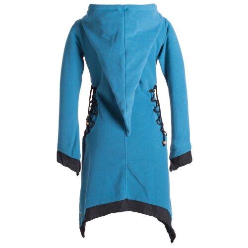 Vishes Langarm Lagenlook Elfenkleid aus Eco Fleece mit Schnürung und Zipfelkapuze