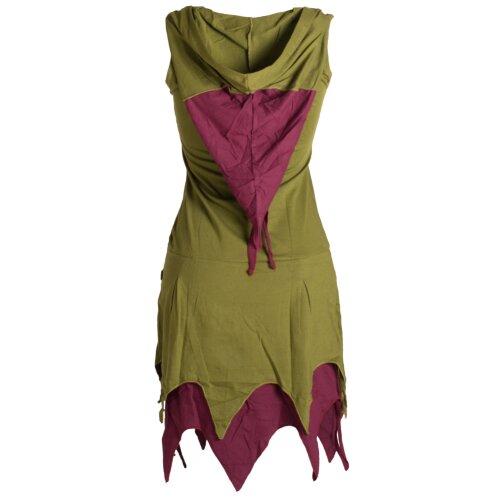 Vishes Ärmelloses Elfenkleid im Lagenlook mit Zipfeln und Zipfelkapuze aus Biobaumwolle
