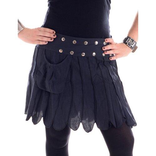 Vishes Zweifarbig gestreifter Patchwork Wickel Rock - größenverstellbar mit Druckknöpfen - mit Tasche