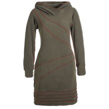 Vishes Langärmliges Patchwork Hoodie Eco Fleecekleid mit...