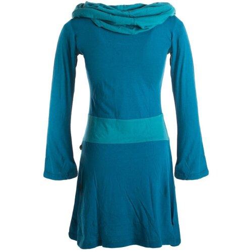 Vishes Langärmliges Baumwoll Hoodie Kleid mit großem Schalkragen