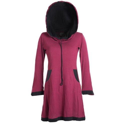 Vishes Langärmliges Lagenlook Kleid mit Kapuzenschalkragen zum Schnüren