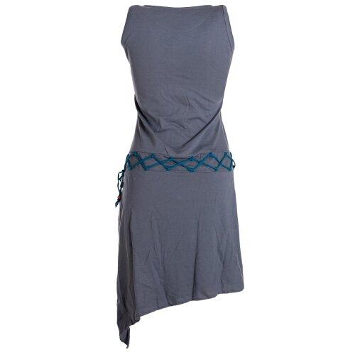 Vishes Asymmetrisches Kleid ohne Ärmel - Beinausschnitt Gürtel-Schnürung