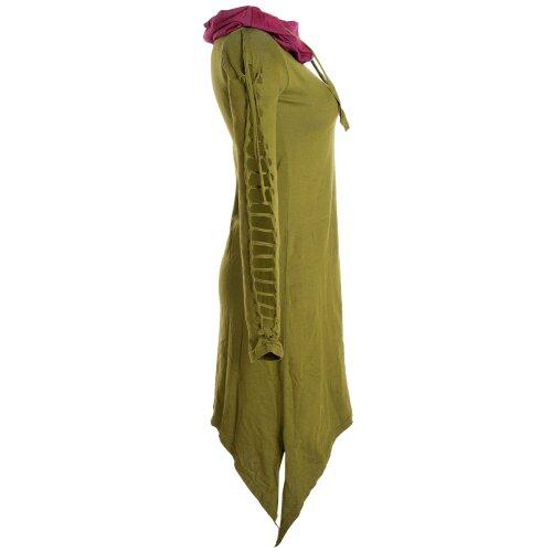 Vishes Zweifarbiges langarm Elfen Zipfelkleid aus Biobaumwolle mit Schalkragen
