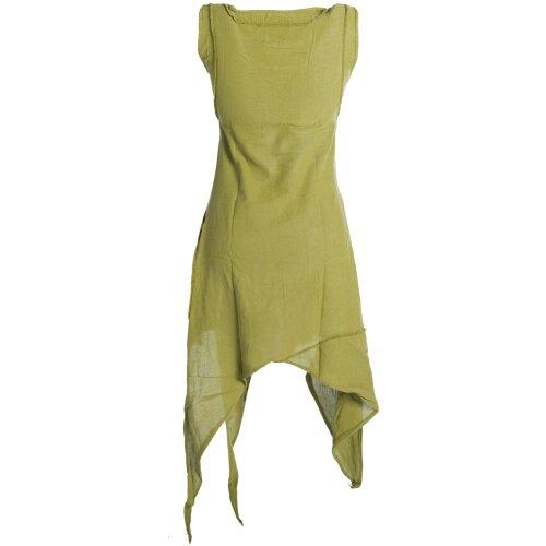 Vishes Armloses einfarbiges Lagenlook Zipfelkleid aus Baumwolle im used Look