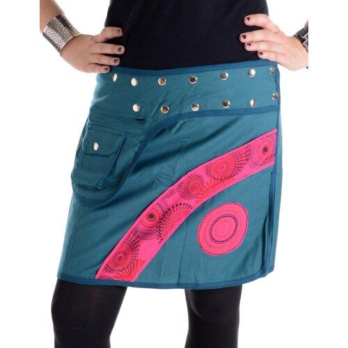 Vishes Größenverstellbarer Patchwork Wickel Mini Rock aus Baumwolle mit Tasche