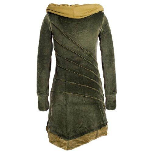 Vishes Langärmliges asymmetrisches patchwork Samtkleid mit großem Schalkragen
