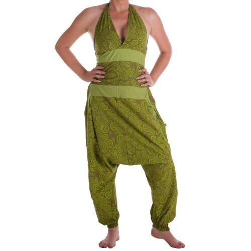 Vishes Damen Hippie Latzhose Overall Haremshose Neckholder aus Baumwolle mit Blümchen