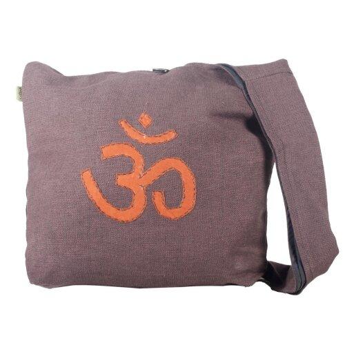 Vishes Umhängetasche aus grob gewebter Baumwolle mit aufgenähtem und umsticktem Om-Zeichen