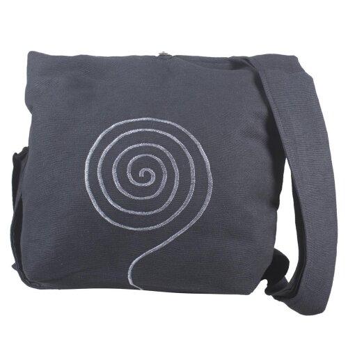 Umhängetasche aus handgewebter Baumwolle mit aufgestickter Spirale