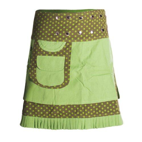 Vishes Gepunkteter Wickelrock Baumwolle verstellbar durch Druckknöpfe mit Tasche Rüschen