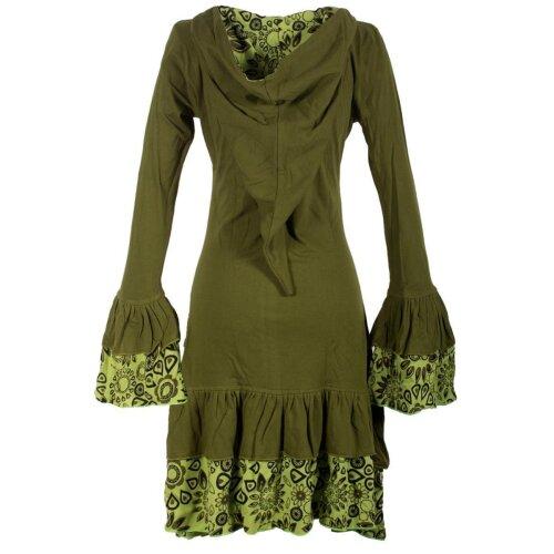 Vishes Lagenlook Langarm Elfenkleid mit Zipfelkapuze und Rüschen