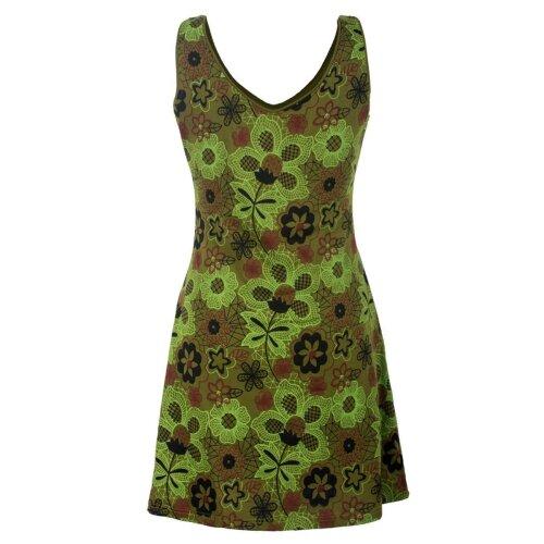Vishes Ärmelloses Blumenkleid aus Baumwolle mit Taschen