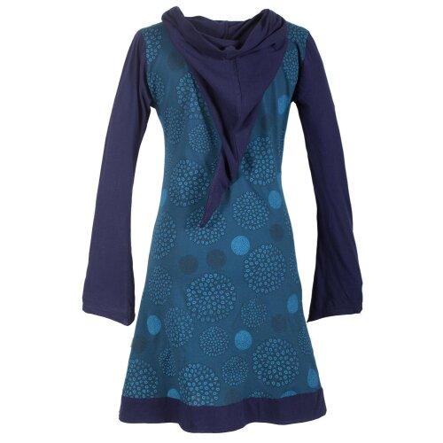 Vishes Langarm Baumwollkleid mit Zipfelkapuze und Taschen