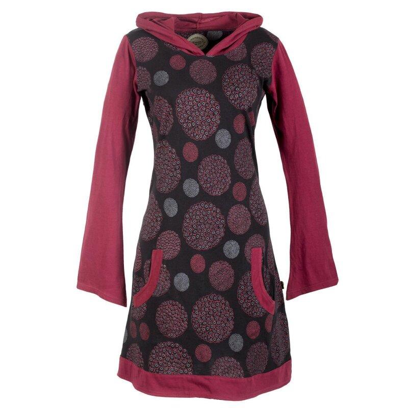 Vishes Kleid Hippiekleid Blumenkleid Flower Kapuzenkleid Tunika langarm Kleid