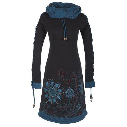 Vishes Bedrucktes Damen Blumen Kleid mit Schalkragen und Schnüren