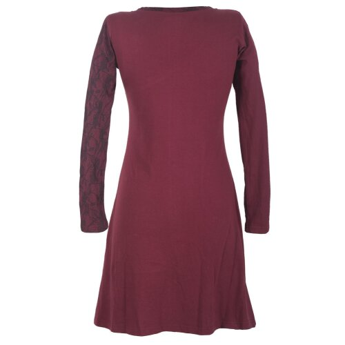 Vishes Asymmetrisches Damen Lagenlook Kleid Baumwolle mit Spitze bedruckt