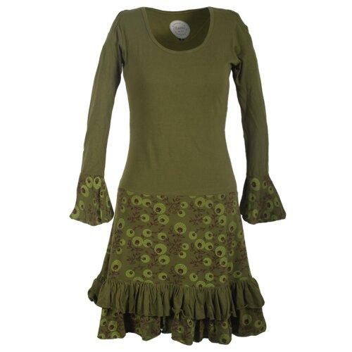 Vishes Langarm Herbst Damen Blümchenkleid aus Baumwolle mit Rüschen