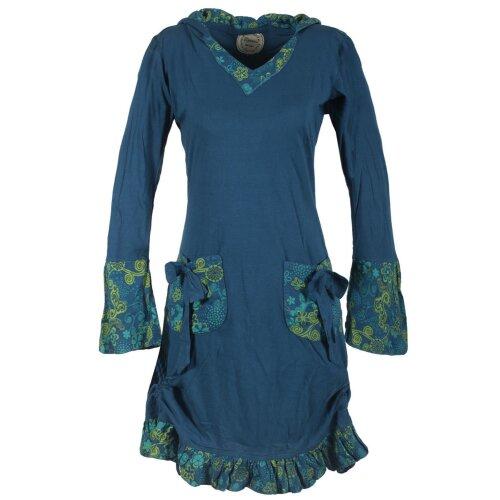 Vishes Langarm Damen Baumwollkleid mit ausgestellten Ärmeln und Rüschen