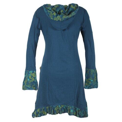 Vishes Langarm Damen Baumwollkleid mit ausgestellten Ärmeln und Rüschen türkis 42