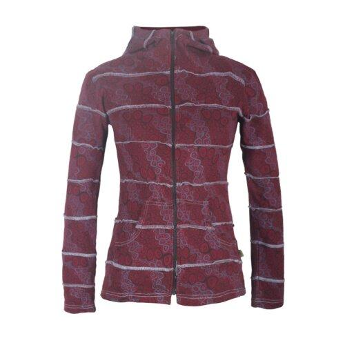 Vishes Bedruckte Damen Patchwork Jacke aus Baumwolle mit Zipfelkapuze
