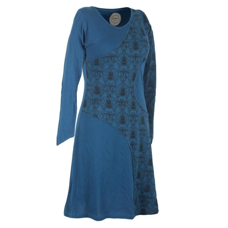 Vishes Langes Lagenlook Patchwork Langarm Damen Kleid ...